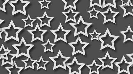 Abstract illustration of randomly arranged white stars with soft shadows on black background Illustration