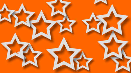 Abstract illustration of randomly arranged white stars with soft shadows on orange background