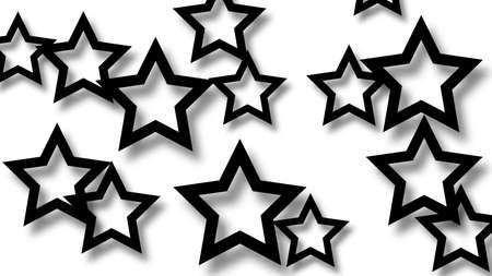 Abstract illustration of randomly arranged black stars with soft shadows on white background