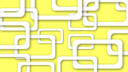Abstract illustration of randomly arranged white rectangle frames with soft shadows on yellow background
