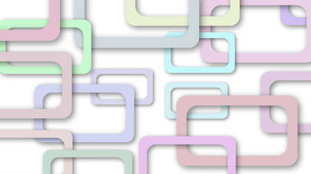 Abstract illustration of randomly arranged colored rectangle frames with soft shadows on white background