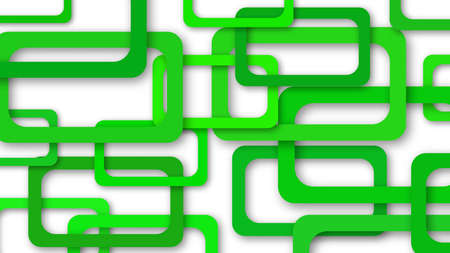 Abstract illustration of randomly arranged green rectangle frames with soft shadows on white background
