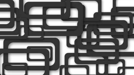 Abstract illustration of randomly arranged black rectangle frames with soft shadows on white background Illustration