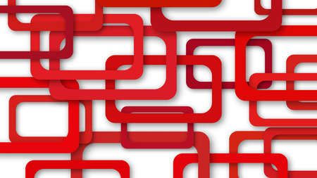 Abstract illustration of randomly arranged red rectangle frames with soft shadows on white background