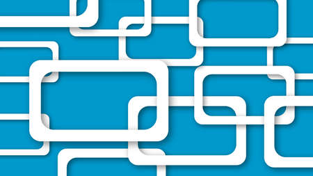 Abstract illustration of randomly arranged white rectangle frames with soft shadows on light blue background