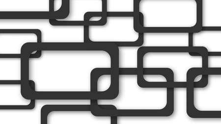 Ilustración abstracta de marcos rectangulares negros dispuestos al azar con sombras suaves sobre fondo blanco.