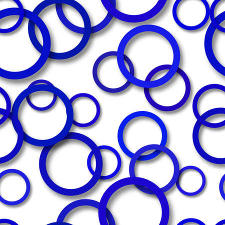 Abstract seamless pattern of randomly arranged blue rings with soft shadows on white background