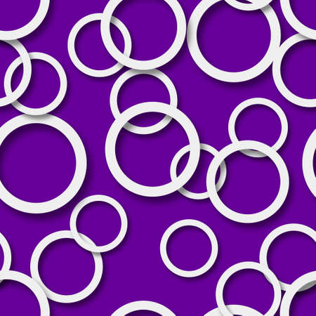 Abstract seamless pattern of randomly arranged white rings with soft shadows on purple background Vetores