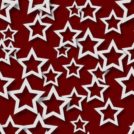 Abstract seamless pattern of randomly arranged white stars with soft shadows on burgundy background