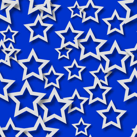 Abstract seamless pattern of randomly arranged white stars with soft shadows on blue background