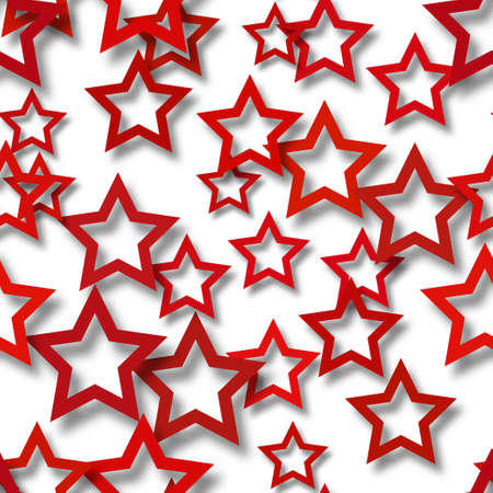 Abstract seamless pattern of randomly arranged red stars with soft shadows on white background 일러스트