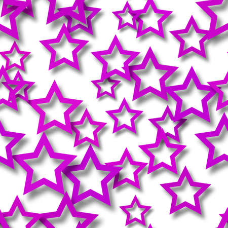 Abstract seamless pattern of randomly arranged purple stars with soft shadows on white background