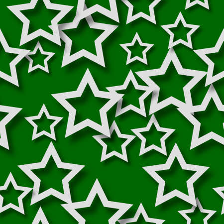 Abstract seamless pattern of randomly arranged white stars with soft shadows on green background