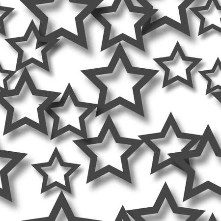 Abstract seamless pattern of randomly arranged black stars with soft shadows on white background Illustration