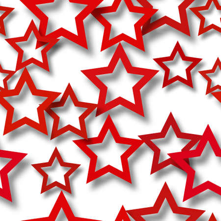 Abstract seamless pattern of randomly arranged red stars with soft shadows on white background Illustration