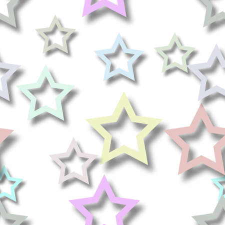 Abstract seamless pattern of randomly arranged colored stars with soft shadows on white background