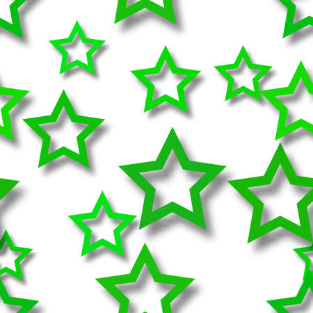 Abstract seamless pattern of randomly arranged green stars with soft shadows on white background