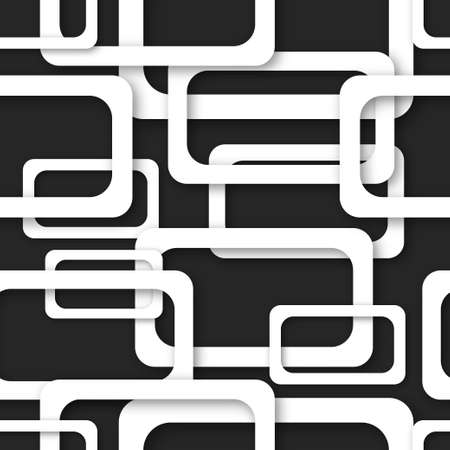 Abstract seamless pattern of randomly arranged white rectangle frames with soft shadows on black background