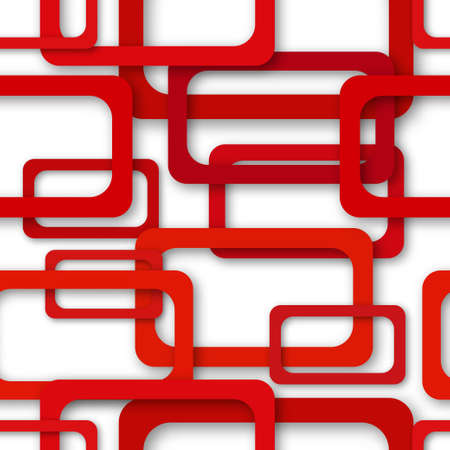 Abstract seamless pattern of randomly arranged red rectangle frames with soft shadows on white background