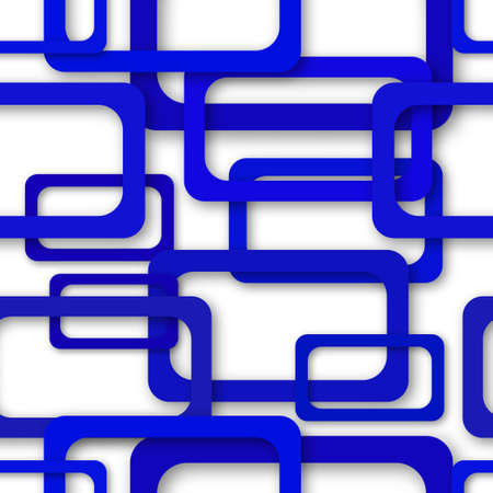 Abstract seamless pattern of randomly arranged blue rectangle frames with soft shadows on white background