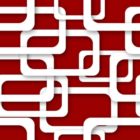 Abstract seamless pattern of randomly arranged white rectangle frames with soft shadows on red background Ilustração