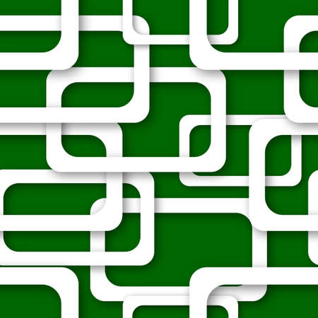 Abstract seamless pattern of randomly arranged white rectangle frames with soft shadows on green background