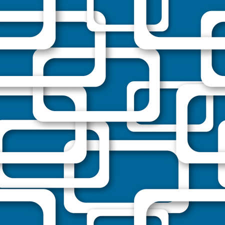 Abstract seamless pattern of randomly arranged white rectangle frames with soft shadows on blue background