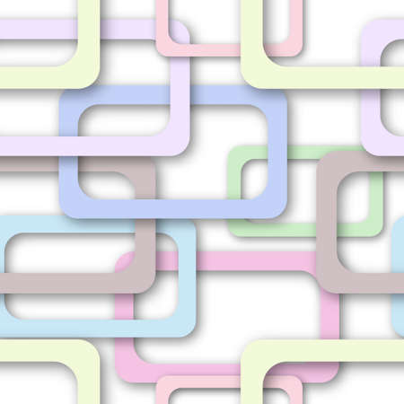 Abstract seamless pattern of randomly arranged colored rectangle frames with soft shadows on white background