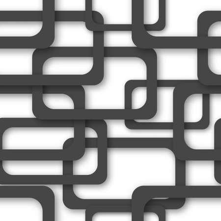 Abstract seamless pattern of randomly arranged black rectangle frames with soft shadows on white background Ilustração