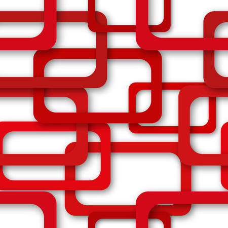 Abstract seamless pattern of randomly arranged red rectangle frames with soft shadows on white background Vetores