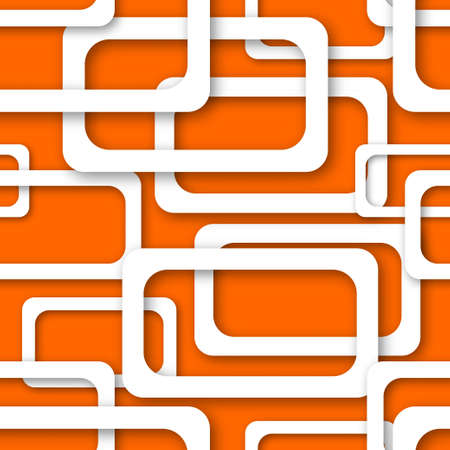 Abstract seamless pattern of randomly arranged white rectangle frames with soft shadows on orange background