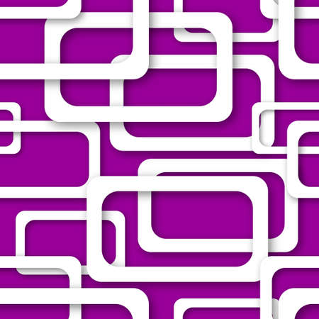 Abstract seamless pattern of randomly arranged white rectangle frames with soft shadows on purple background