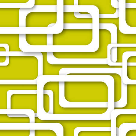Abstract seamless pattern of randomly arranged white rectangle frames with soft shadows on yellow background Ilustração