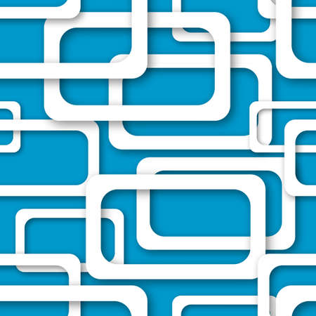 Abstract seamless pattern of randomly arranged white rectangle frames with soft shadows on light blue background