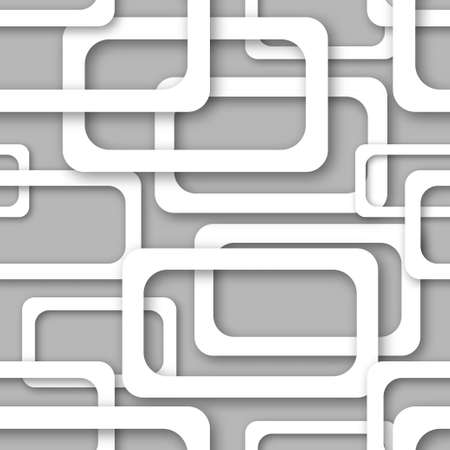 Abstract seamless pattern of randomly arranged white rectangle frames with soft shadows on gray background Ilustração