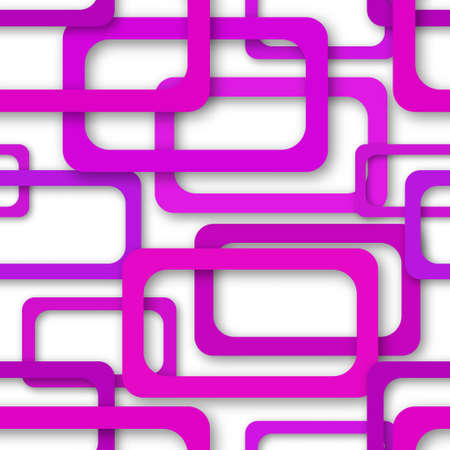 Abstract seamless pattern of randomly arranged purple rectangle frames with soft shadows on white background Ilustração