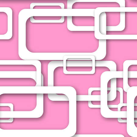 Abstract seamless pattern of randomly arranged white rectangle frames with soft shadows on pink background