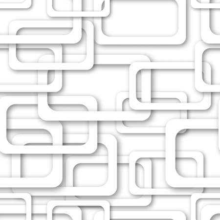 Abstract seamless pattern of randomly arranged gray rectangle frames with soft shadows on white background