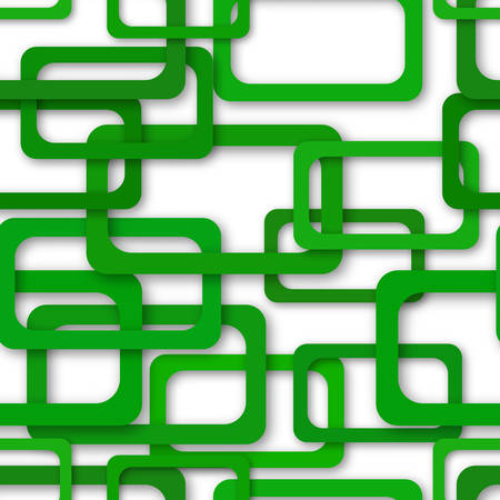 Abstract seamless pattern of randomly arranged green rectangle frames with soft shadows on white background