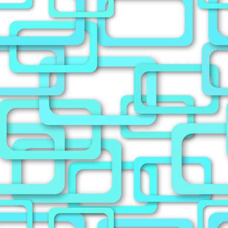 Abstract seamless pattern of randomly arranged light blue rectangle frames with soft shadows on white background Ilustração
