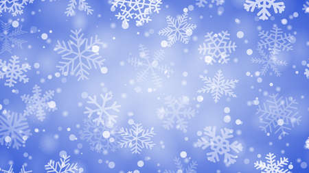 Christmas background of snowflakes of different shapes, sizes and transparency in blue colors