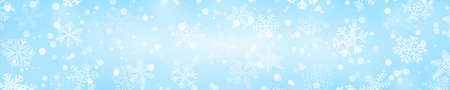 Christmas horizontal banner of snowflakes of different shapes, sizes and transparency in light blue colors