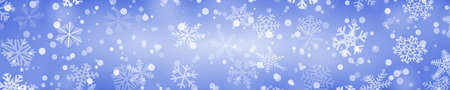 Christmas horizontal banner of snowflakes of different shapes, sizes and transparency in blue colors