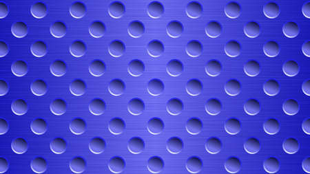 Abstract metal background with holes in bright blue colors