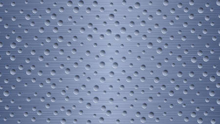 Abstract metal background with holes in blue colors