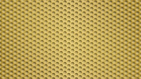 Abstract metal background with hexagonal holes in yellow colors Ilustracje wektorowe