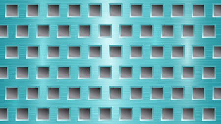 Abstract metal background with square holes in light blue and gray colors
