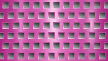 Abstract metal background with square holes in pink and gray colors