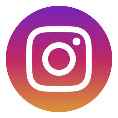 VORONEZH, RUSSIA - NOVEMBER 21, 2019: Instagram logo round icon in purple and yellow color