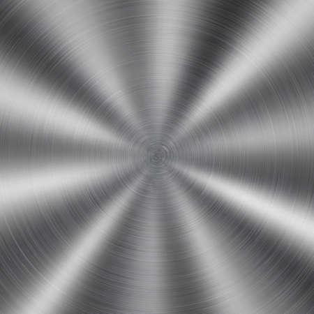 Fondo abstracto de metal brillante con textura circular cepillada en color plateado Ilustración de vector